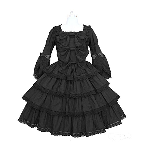 Cos store Womens Halloween Black Classic French Maid Lolita Dress Party Cosplay Costumes (The Halloween Costumes Store)