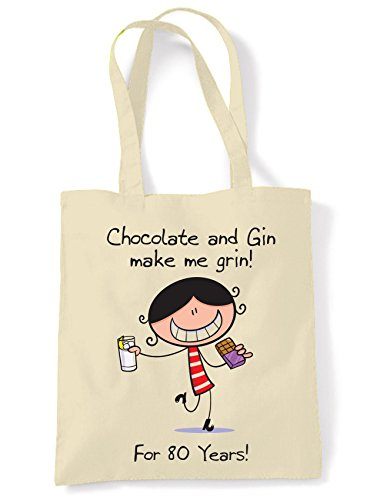 Women's Grin Bag Birthday 80th Shoulder Tote Me Gin amp; Chocolate Present Make qwaxIX1xf