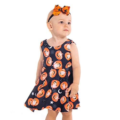 YJYdada Baby Skirt, Toddler Infant Baby Girls Pumpkin Print Dresses Halloween Costume Outfits (80) -