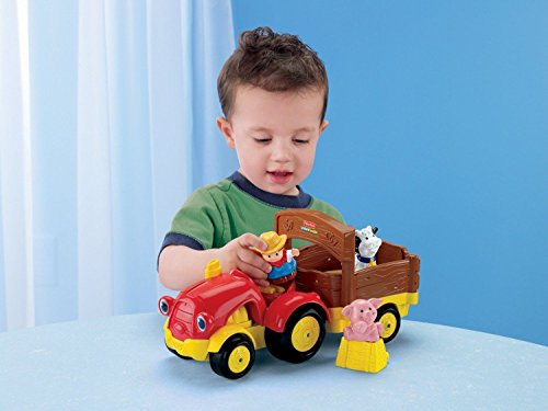 Fisher-Price - Little People Lil' Movers Tow 'n Pull Tractor with Farmer Eddie, Pig and Cow Figures and Hay Bale Play Piece (The Tractor People)