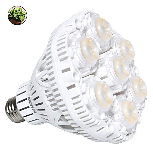 SANSI 36W Daylight LED Plant Light Bulb, Full Spectrum Ceramic LED Grow Light Blub, E26 Plant Bulb Sunlight White Grow Light for Indoor Garden Farming Greenhouse, Grow Walls, UV IR, E26 110V