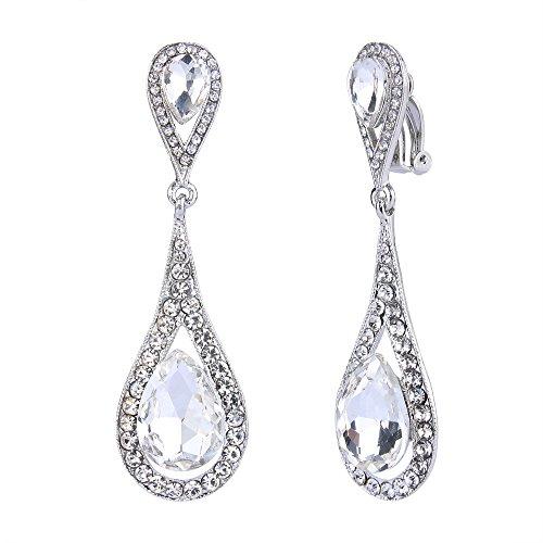 EVER FAITH Womens Austrian Crystal Elegant Dual Tear Drop Clip-on Dangle Earrings