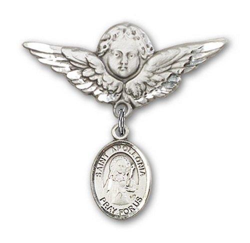 Icecarats Créatrice De Bijoux En Argent Sterling St. Apollonia Charme Ange Broche De Badge 1 1/8 X 1 1/8