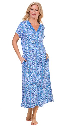 Miss Elaine Long Rayon Short Sleeve Zip Front Robes In Blue Mosaic (Blue Mosaic, Medium - Front Zip Miss Elaine