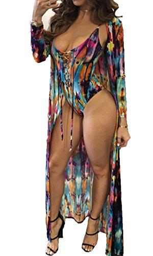 Exquise fille Women Tie Dye Swimsuit Bandage Monokini Long Maxi Beach Dress Summer Cover up Swimwear