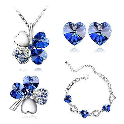 Parure Coeurs-Bleu-Boucles d'Oreilles Trèfle à Quatre Feuilles Porte-bonheur-Collier Bracelet Broche &S457