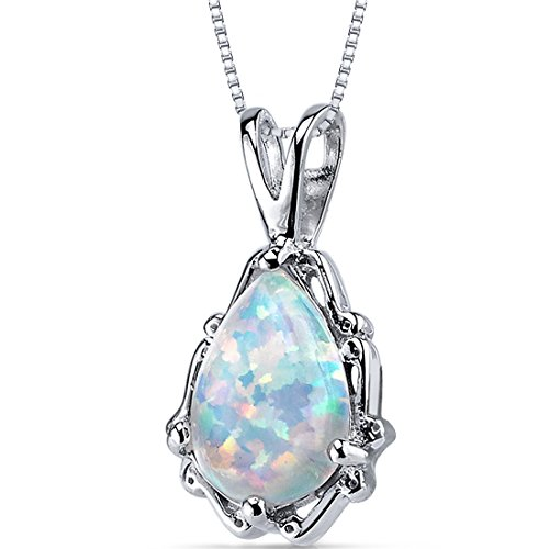 Created Opal Pendant Necklace Sterling Silver Pear Shape 1.50 Carats (Necklace Opal Fire Pendant)