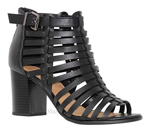 (MVE Shoes Women's Peep Toe Lace up Cut Out Gladiator, Cut Out Back Zip Wedge Sandals, Pickup Black PU 6)
