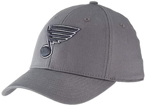 OTS NHL St. Louis Blues Comer Center Stretch Fit Hat, Charcoal, Large/X-Large