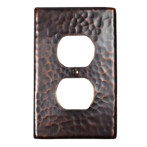 The Copper Factory CF122AN Solid Hammered Copper Single Duplex Receptacle Plate, Antique Copper Finish by The Copper Factory