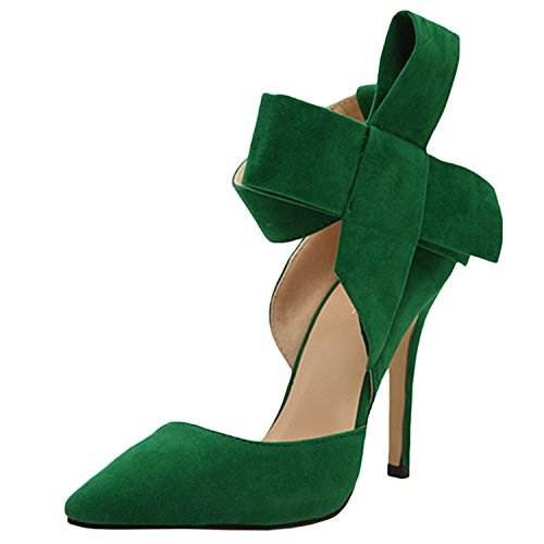 Heel Women's Toe Bow Green Stiletto Pointed D2C Elegant Velcro High Beauty Pumps OSwcqwzT7