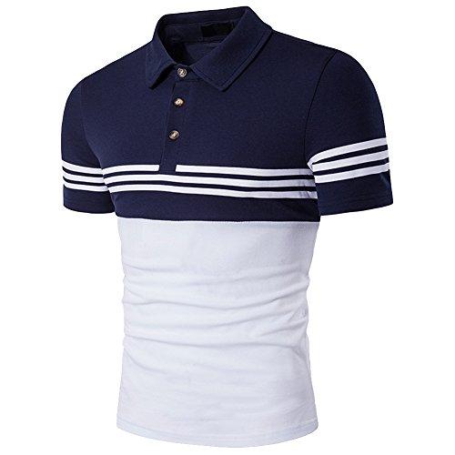 Cottory Men's Fashion Stripe Contrast Color Short Sleeve Polo T Shirt Dark Blue White Medium
