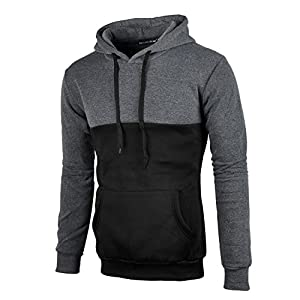 Mooncolour Men's Casual Contrast Color Pullover Hoodie With Kanga Pocket