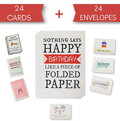 Funny Birthday Cards  Humorous Sarcastic Rude Happy Bday Card Pack of 24 Cards Envelopes Included 8 Unique Designs Blank Inside 5x7 Boxed Assortment for Him Her Sister Brother Mom Dad Best Friend