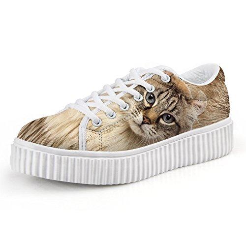 Bigcardesigns Kvinna Cat Tillfälliga Hög Tunga Skor Snörning Cat1