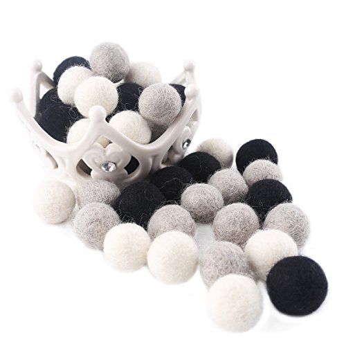 Baby Love Home 30pcs Wool Felt Beads Grey White Black 100% Wool 2cm Fashion Felted Ball for Hand Crafts