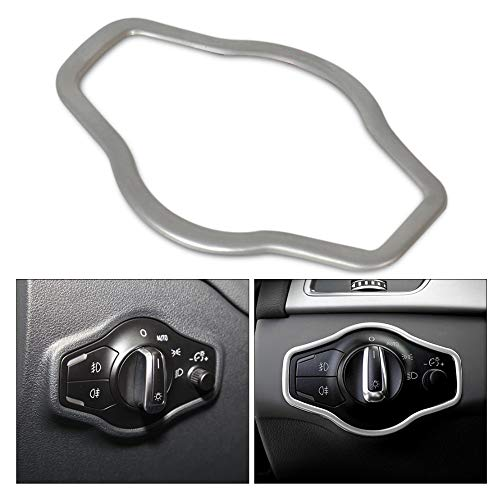 Huanlovely Silver Chrome Interior Headlight Switch Button Cover Trim for Audi A4 B8 Q5 A5 2008 2009 2010 2011 2012 2013 2014 2015