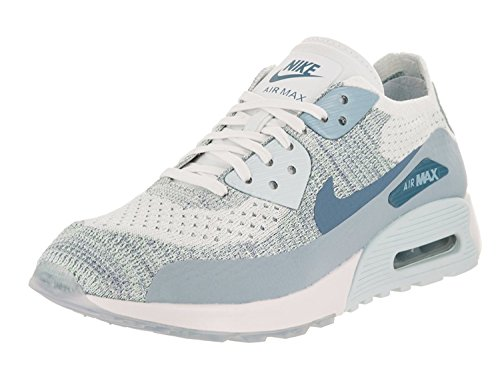 Nike Womens Air Max 90 Ultra 2.0 Flyknit Casual Shoe, white/lt armory blue-glacier b, 36.5 B(M) EU/3.5 B(M) UK