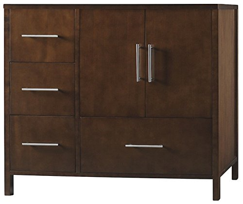 - RONBOW Juno 36 Inch Bathroom Vanity Base Cabinet with Soft Close Frosted Glass Door and Right Cabinet Drawer in Dark Cherry 039236-1R-H01