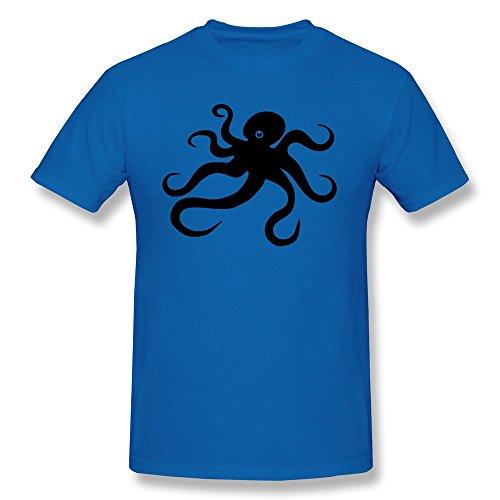 Custom Your Own Men's T-shirts Cute Octopus Sea Fish Size XL RoyalBlue