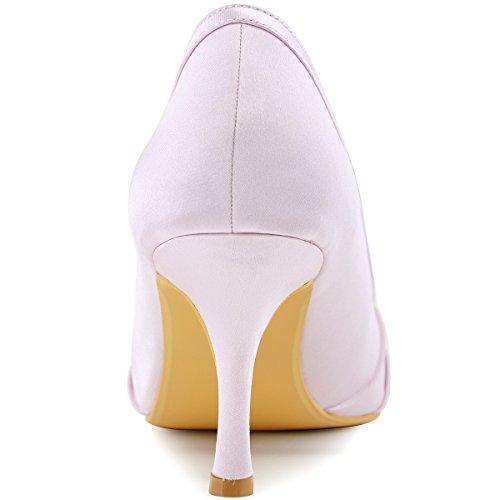 ElegantPark EP2094AE Mujer Peep Toe AE Desmontable Zapatos Clips Zapatillas El tacón alto Satén Baile Zapatos de Boda Lavanda