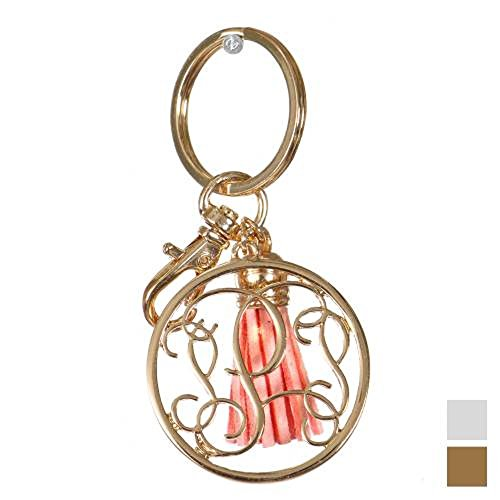 Initial Jewelry Personalized Monogrammed Alphabet Initial Letter Keychain, Key Ring, Bag Charm w/ Tassel (P-Gold)