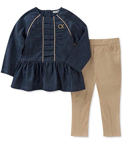 - Calvin Klein Baby Girl's 2-Pc. Denim Tunic & Moleskin Leggings Set Blue (3-6 Months)