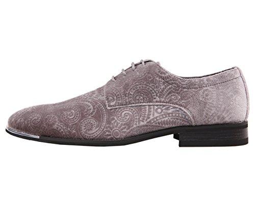 Amali Heren Paisley Fluwelen Oxford Smoking Mode Jurk Schoen Met Metalen Tip, Stijl Chadwick Grijs