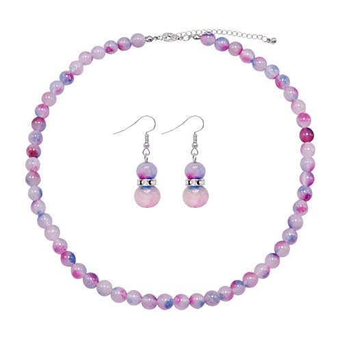 Colorose Gemstone Necklace for Women Pink Blue Natural Stone Bead Strand Necklace and Earring