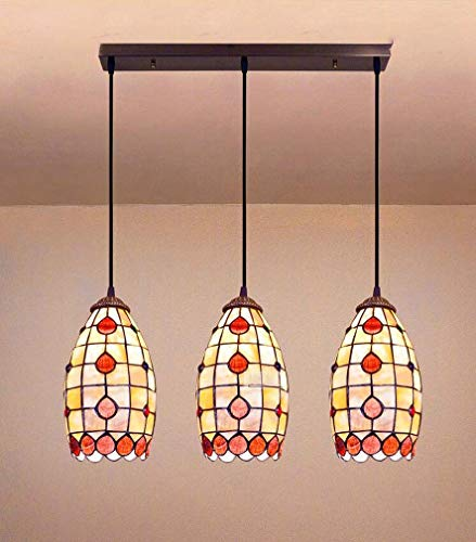 - 5 Inch Tiffany Style Pendant Lighting for Kitchen Island, Heart-Shaped Pattern Natural Shell Shade Hanging Lamp with Bronze Wrought Iron Accessories, E27,C
