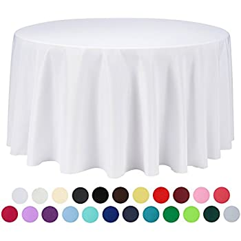 Lovely VEEYOO 108 Inch Round Solid Polyester Tablecloth For Wedding Restaurant  Party, White