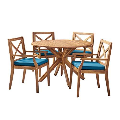 Great Deal Furniture 305774 Jordan Outdoor 5 Piece Acacia Wood Dining Set, Teak and Blue, Finish