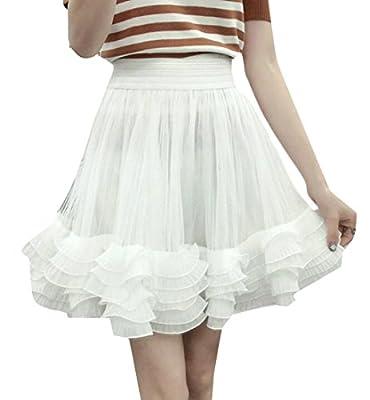 JXG Women Pleated Mesh Elastic Waist Skater Pleated Midi Cupcake Skirt
