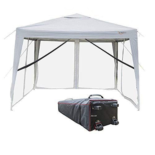 VINGLI 10'x10' EZ Pop Up Canopy Tent with 4 Matching Removable Mesh Wall Panels, Folding Instant Sun Shade Shelter Outdoor Commercial Wedding Party Gazebo Canopy W/Roller Carry Bag White