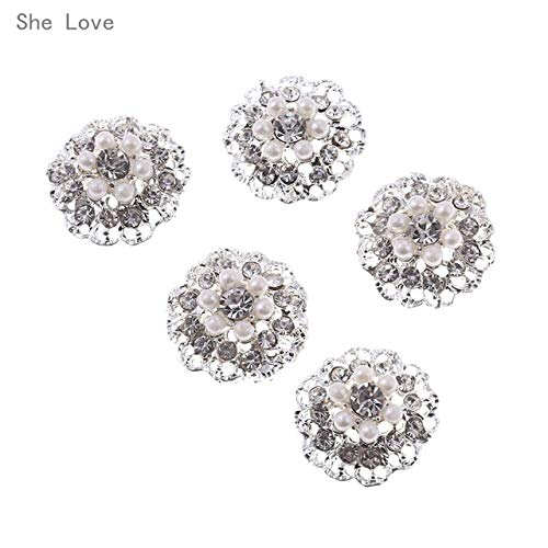 Maslin She Love 5pcs 21mm Flower Round Cluster Crystal Pearl Button Lot Wedding Buckle Jewelry Sewing Craft - (Color: 5)