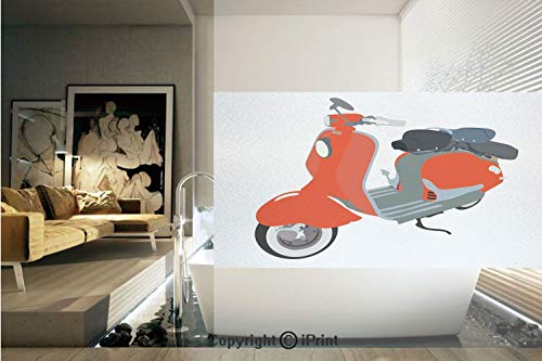 (Decorative Privacy Window Film/Motor Scooter Doodle in Nice Sixties Style Driving Motorcycle Urban Cartoon Clipart Decorative/No-Glue Self Static Cling for Home Bedroom Bathroom Kitchen Office Decor)