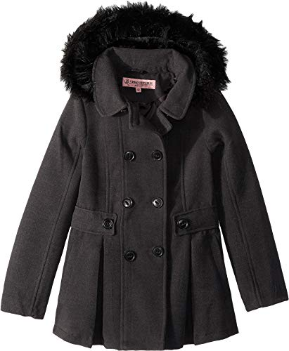 (Urban Republic Kids Girl's Catherine Double Breasted Wool Coat (Little Kids/Big Kids) Charcoal 16)