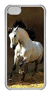 Personalized Custom White Horse for iPhone 5C PC Transparent Case