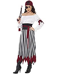 Women's Pirate Lady Costume Dress with Arm Ties Belt and Headpiece