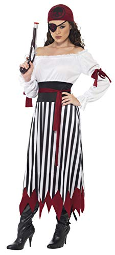 Smiffys Women's Pirate Lady Costume, Dress with Arms tied, Belt and Headpiece, Pirate, Serious Fun, Size 10-12, 20803 -