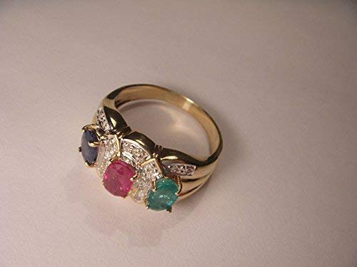 (Beautiful Estate 14K Yellow Gold Diamond Ruby Sapphire Emerald Band Ring)