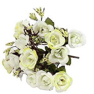 SoundsBeauty 1 Bouquet Artificial Rose Babysbreath Silk Fake Flower Leaf Home Wedding Decor 13