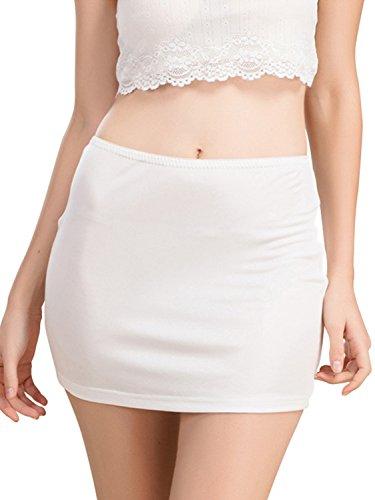 (Women's Pettipants Nylon Culotte Slip Bloomers Split Skirt Half Slips(White,L))