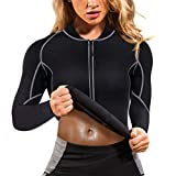 Gotoly Women Sweat Weight Loss Sauna Suit Neoprene Workout Shirt Training Body Shaper Zipper Slim Fitness Jacket Gym Fat Burner Top Long Sleeve Shapewear Sport Clothes (Black/XXL)