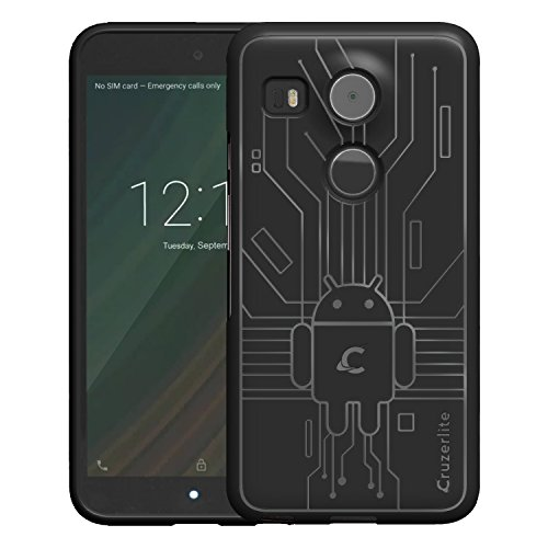 Price comparison product image Nexus 5X Case, Cruzerlite Bugdroid Circuit Case Compatible for LG Nexus 5X - Black