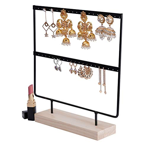 QILICHZ Simple Wooden Base Metal Jewelry Display Stand for Dangle Earrings Hanging Rack 42 Holes 3 Tiers Black (Metal Earring Stand)