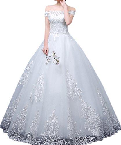 Cinderella Work Dress (Oufeisha Womens Ball Gown Cinderella's Off the Shoulder Prom Gown Wedding Dress)