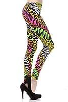 NeonNation Multi Color Animal Print Bright Leggings 1980s Pants Zebra Cheetah Costume