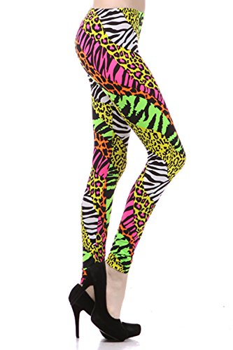 Neon Nation Multi Color Animal Print Bright Leggings 1980s Pants Zebra Cheetah Costume (Medium) -