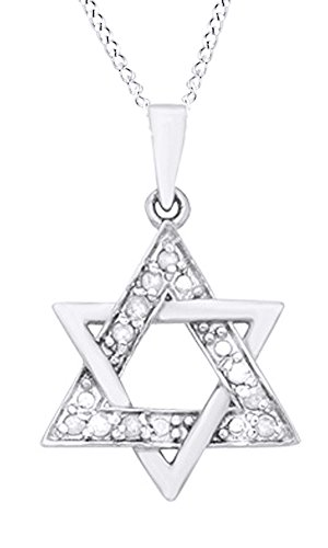 AFFY Hanukkah Holy Day Sale White Natural Diamond Star of David Pendant Necklace in 14k White Gold Over Sterling Silver (0.1 Ct)